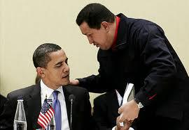 Hugo Chavez presenting Obama with a copy of  Eduardo Galeano's book, Open Veins of  Latin America.