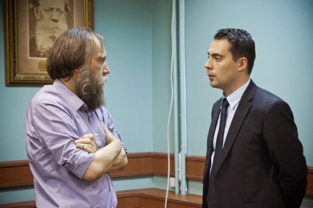 Aleksandr Dugin and Jobbik's leader Gábor Vona in Moscow, 2013