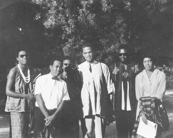 Malcolm X in Ghana with Maya Angelou, Julius Mayfield, Alice Windom, Vicki Garvin